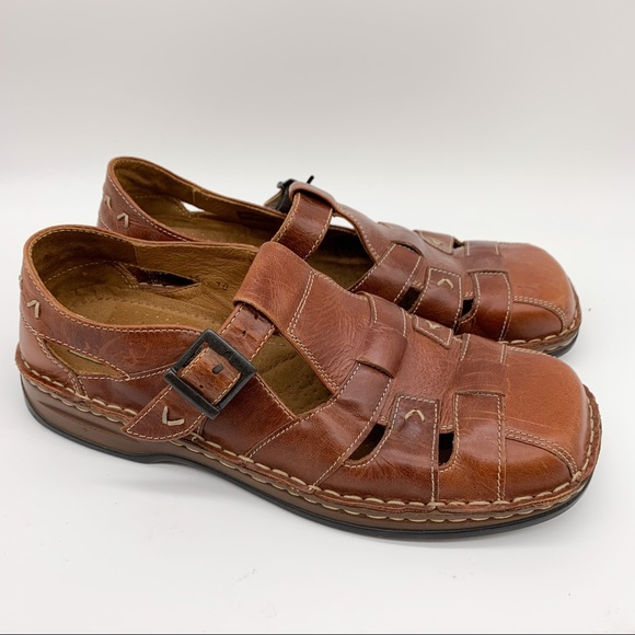 Josef Seibel Shoes - Josef Seibel brown leather woven Mary-janes, 39.